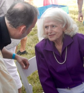 Edie Windsor talks with party goers